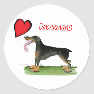 we luv dobermans from Tony Fernandes Classic Round Sticker