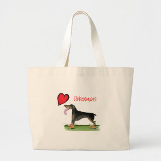 we luv dobermans from Tony Fernandes Large Tote Bag