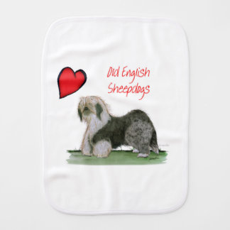 we luv old english sheepdogs, Tony Fernandes Burp Cloth