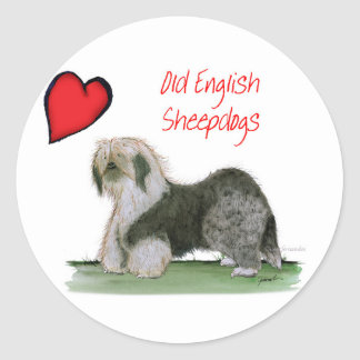 we luv old english sheepdogs, Tony Fernandes Classic Round Sticker