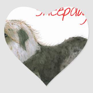 we luv old english sheepdogs, Tony Fernandes Heart Sticker