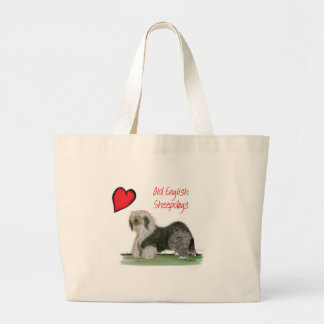 we luv old english sheepdogs, Tony Fernandes Large Tote Bag