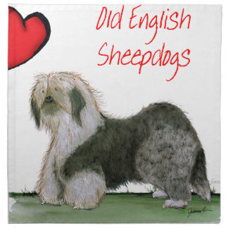 we luv old english sheepdogs, Tony Fernandes Napkin