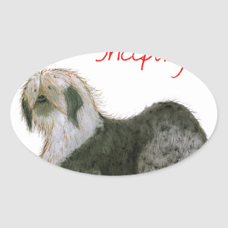 we luv old english sheepdogs, Tony Fernandes Oval Sticker