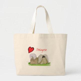 we luv pekingese from Tony Fernandes Large Tote Bag