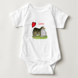 we luv shetland sheepdogs from Tony Fernandes Baby Bodysuit