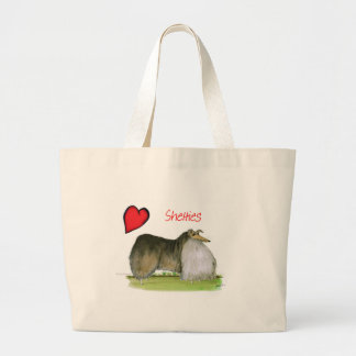 we luv shetland sheepdogs from Tony Fernandes Large Tote Bag