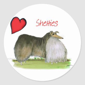we luv shetland sheepdogs from Tony Fernandes Round Sticker