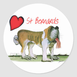 we luv st bernards from Tony Fernandes Classic Round Sticker