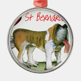 we luv st bernards from Tony Fernandes Silver-Colored Round Ornament