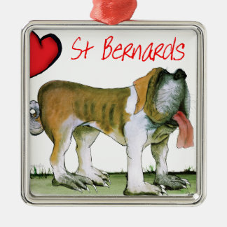 we luv st bernards from Tony Fernandes Silver-Colored Square Ornament