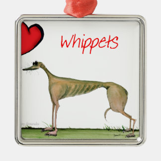 we luv whippets from Tony Fernandes Metal Ornament