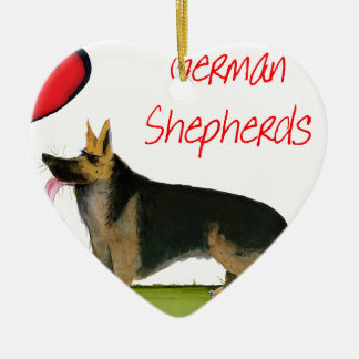 we luve german shepherds from Tony Fernandes Ceramic Ornament