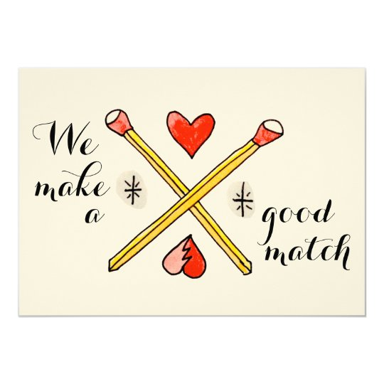 We Make a Good Match Valentine's Day flat card