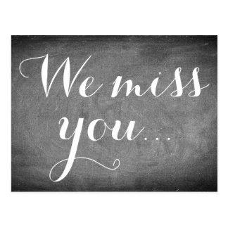 We miss you, Handwriting Typography Black White Postcard