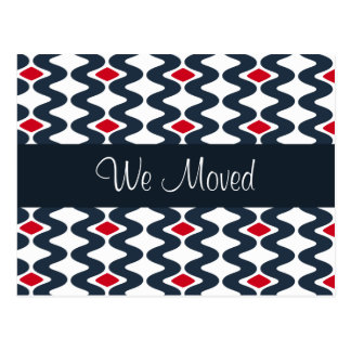 We Moved Blue Pattern Postcard
