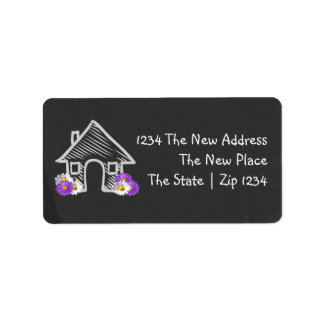 We Moved Home Blackboard Doodle Personalized Label