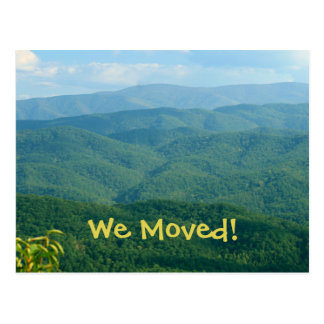 We Moved! Lush rolling Mountains Address Change Postcard