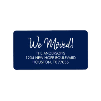 We Moved Return Address Labels | Navy and White