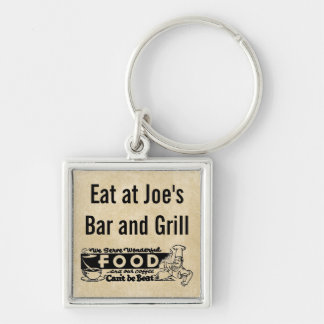 """We Serve Wonderful Food"" Personalized Restaurant Silver-Colored Square Keychain"