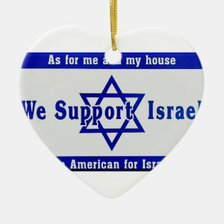 We Support Israel Ceramic Heart Ornament