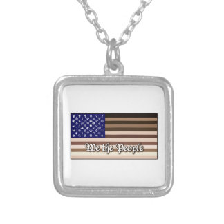 We the People Flag Silver Plated Necklace