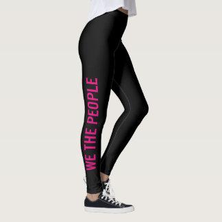 We the People Pink Black Resistance Leggings