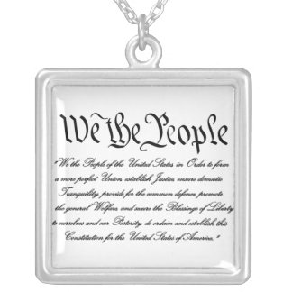 We the People Preamble Silver Necklace
