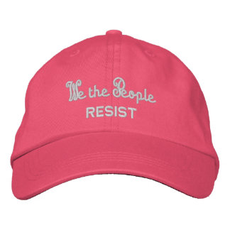 We the People Resist Pink Cat Ears Summer Embroidered Hat