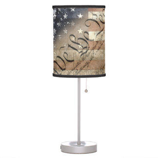 WE THE PEOPLE VINTAGE AMERICAN FLAG LAMP