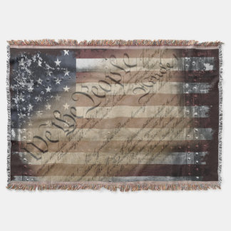 We The People Vintage American Flag Throw Blanket
