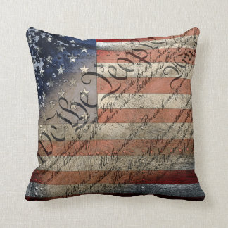 We The People Vintage American Flag Throw Pillow