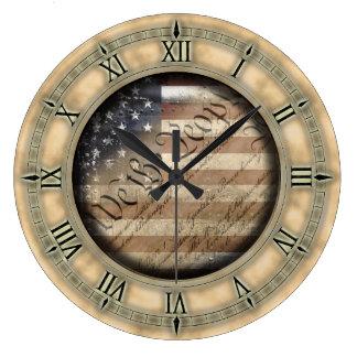 We The People Vintage American Flag Wall Clock