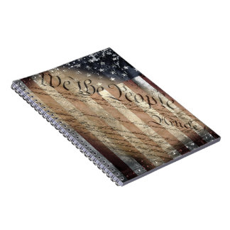 WE THE PEOPLE VINTAGE INDUSTRIAL USA FLAG Notebook