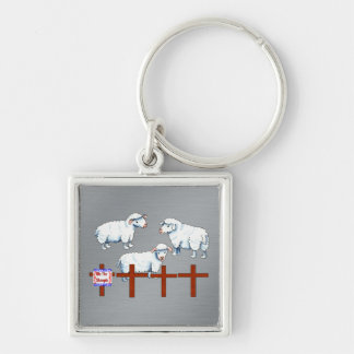 We The Sheeple Silver-Colored Square Keychain