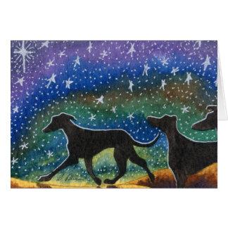 We three greyhound dogs card