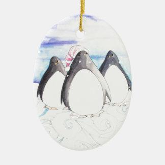 We three Penguins Ceramic Ornament