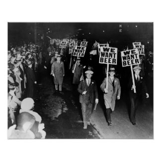 We Want Beer! Prohibition Protest, 1931 Vintage Poster