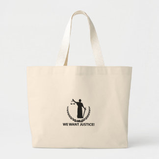 We Want Justice Large Tote Bag