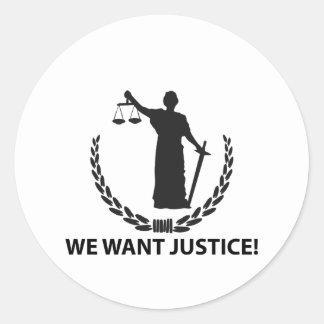 We Want Justice Round Sticker