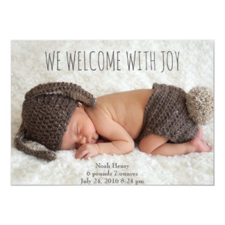 "We welcome with Joy: Minimalist 5"" X 7"" Invitation Card"