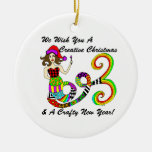 We Wish You A Creative Christmas Mermaid Round Ceramic Ornament