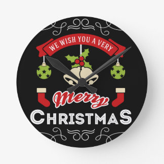 We wish you a Merry Christmas Greeting Round Clock