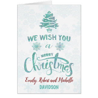 We Wish You a Merry Christmas typography Monogram Card