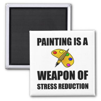 Weapon of Stress Reduction Painting Square Magnet