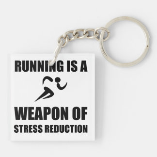 Weapon of Stress Reduction Running Double-Sided Square Acrylic Keychain