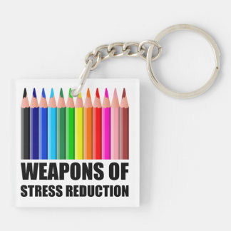 Weapons of Stress Reduction Coloring Double-Sided Square Acrylic Keychain