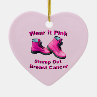 Wear It Pink Stamp Out Breast Cancer Ceramic Heart Ornament