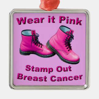 Wear It Pink Stamp Out Breast Cancer Silver-Colored Square Ornament