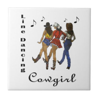 """Weatern Country """"Line Dancing Cowgirl"""" Tile"""